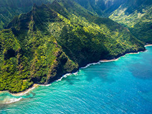 Картинка Штаты Берег Гора Гавайские острова Сверху