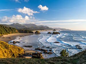 Фото США Берег Гора Пейзаж Облачно Oregon Природа