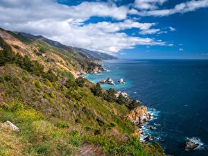 Фотографии США Побережье Океан Калифорнии Облака Скала Big Sur