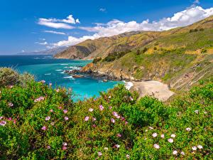Фотография Америка Берег Океан Горы Калифорнии Big Sur