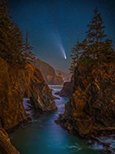 Обои для рабочего стола США Берег Звезды Пейзаж Ночь Утес Дерева Oregon Природа