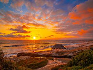 Картинка США Берег Рассвет и закат Пейзаж Небо Волны Море Калифорнии Облако Winandsea Beach La Jolla Природа