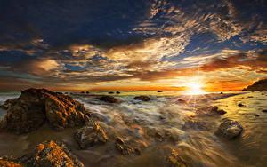 Фотография Штаты Побережье Рассветы и закаты Камень Небо Пейзаж Океан Облака El Matador State Beach Malibu Природа
