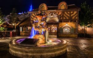 Картинка Штаты Диснейленд Парки Фонтаны Дома Скульптуры Калифорнии Анахайм В ночи Города