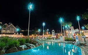 Картинка Штаты Диснейленд Парки Здания Калифорния Анахайм Дизайн HDRI Ночные Плавательный бассейн Уличные фонари