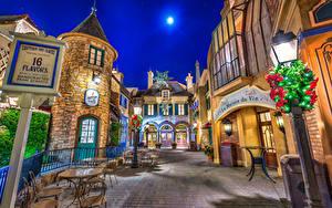 Картинки США Диснейленд Парки Дома Калифорнии Анахайм Дизайна Улиц Ночь Уличные фонари город