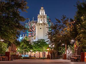 Фотография Штаты Диснейленд Парки Здания Вечер Калифорния Анахайм Дизайн Уличные фонари Города