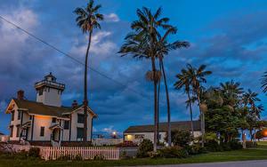 Фотографии США Вечер Здания Маяки Калифорния Пальм Забор Point Fermin Lighthouse in San Pedro город