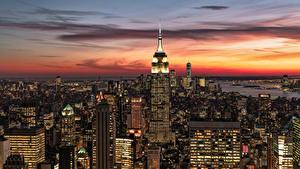 Обои Штаты Вечер Дома Небоскребы Нью-Йорк Манхэттен Города