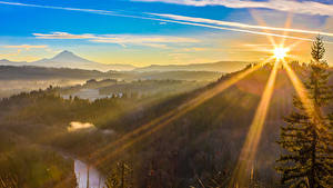 Картинки США Леса Рассветы и закаты Лучи света Sandy Oregon Природа