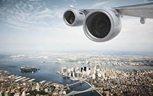 Фотография США Сверху Крыло самолёта Турбина Нью-Йорк Двигатель Города