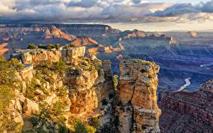 Фотографии Америка Гранд-Каньон парк Скала Облачно Arizona