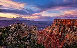 Картинка США Гранд-Каньон парк Небо Утес Каньоны Облака Arizona