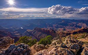 Фото США Гранд-Каньон парк Небо Солнце Облачно Каньона Arizona