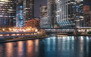Обои для рабочего стола Штаты Здания Мост Вечер Чикаго город Залива город