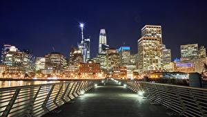 Фотографии Штаты Здания Мосты Сан-Франциско Уличные фонари Забор Ночь город