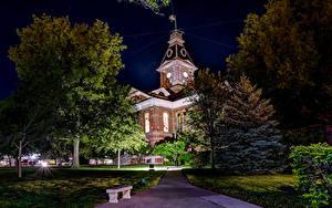 Фотография Штаты Здания Музей Ночные Деревья Clarinda  Iowa Города