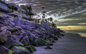 Обои США Дома Берег Вечер Камень Калифорнии HDR Oceanside
