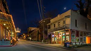 Фото Штаты Дома Вечер Улице Уличные фонари Eureka Springs Arkansas город