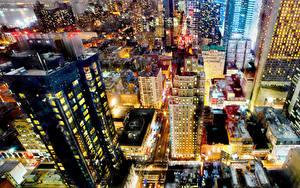 Обои Штаты Здания Вечер Нью-Йорк Мегаполиса Сверху город
