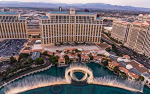 Фото Америка Дома Фонтаны Лас-Вегас Сверху Bellagio Fountain Show Города