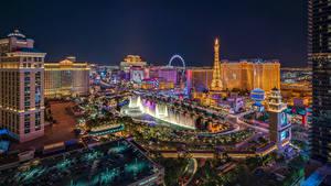 Картинка Штаты Дома Фонтаны Лас-Вегас В ночи