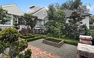 Обои Штаты Здания Ландшафтный дизайн Калифорния Особняк Деревья Laguna Beach