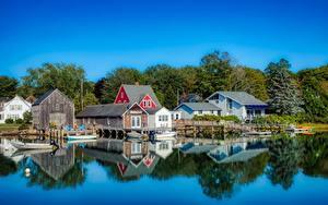 Фото Америка Дома Причалы Лодки Деревня Kennebunkport, Maine город