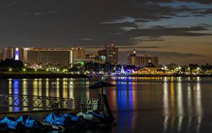 Фото Штаты Здания Пирсы Калифорнии Залива Ночные Long Beach