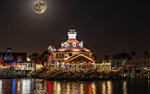 Фотография Штаты Здания Пирсы Калифорнии Залива Ночные Луны Shoreline Village in Long Beach