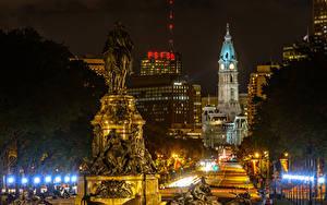 Картинки США Дома Памятники Ночные Уличные фонари Philadelphia