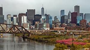 Фотографии Штаты Здания Речка Мосты Чикаго город