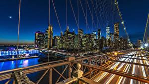 Фотографии Штаты Здания Река Мост Манхэттен Ночь Нью-Йорк Города