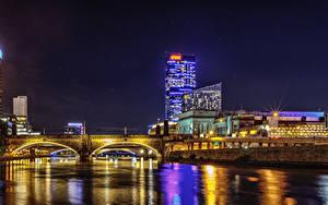 Фото США Дома Река Мост Ночные Philadelphia город