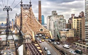 Фотография США Дома Реки Мосты Нью-Йорк Queensboro Bridge Города