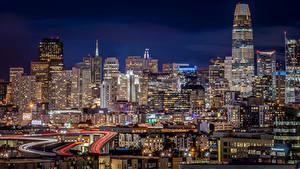 Обои для рабочего стола Штаты Здания Дороги Вечер Сан-Франциско Мегаполиса город