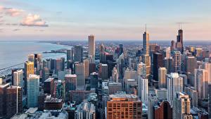 Фотография Штаты Здания Небоскребы Чикаго город Сверху город