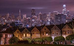 Фотография Штаты Здания Небоскребы Сан-Франциско Калифорния Ночь