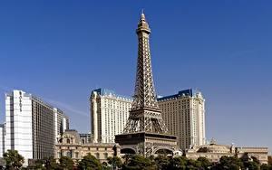 Обои Штаты Здания Башня Лас-Вегас Эйфелева башня Города