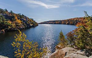 Картинка США Озеро Лес Осенние Скалы Lake Minnewaska Gardiner new york Природа