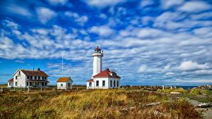 Обои США Маяки Небо Вашингтон Облачно Point Wilson Lighthouse Природа