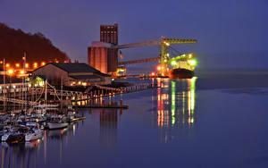 Фото Штаты Пирсы Вечер Корабль Вашингтон Залива Tacoma город