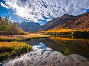 Фотографии США Гора Осенние Река Пейзаж Облако Kebler Pass