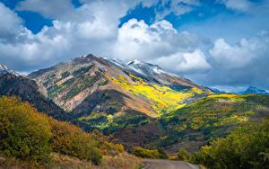 Фотография США Горы Осенние Дороги Облака Colorado Природа