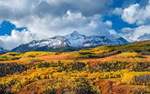 Картинки Штаты Гора Осенние Пейзаж Облачно Wilson Peak, Colorado