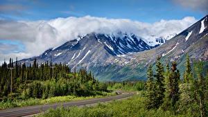 Картинки Штаты Горы Леса Дороги Пейзаж Аляска George Parks Highway Природа