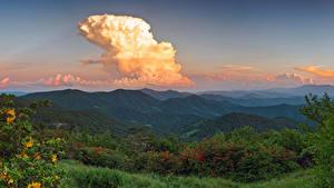 Фото Штаты Горы Леса Рассветы и закаты Облака Кусты Avery North Carolina Природа