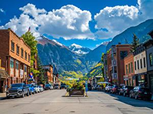 Обои для рабочего стола Штаты Гора Здания Облака Улице Town of Telluride, Colorado город