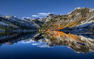 Фото Америка Гора Озеро Небо Калифорнии Отражение Sierra Nevada, Lake Sabrina