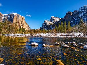 Обои Штаты Гора Парк Речка Камень Пейзаж Йосемити Дерево Калифорнии Снега